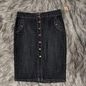 Lauren Jeans Co. dark wash denim pencil skirt